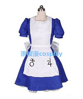 2016 Alice Madness Returns Cosplay Costumes Gothic Halloween Dresses (Top+Dresses+Bow)