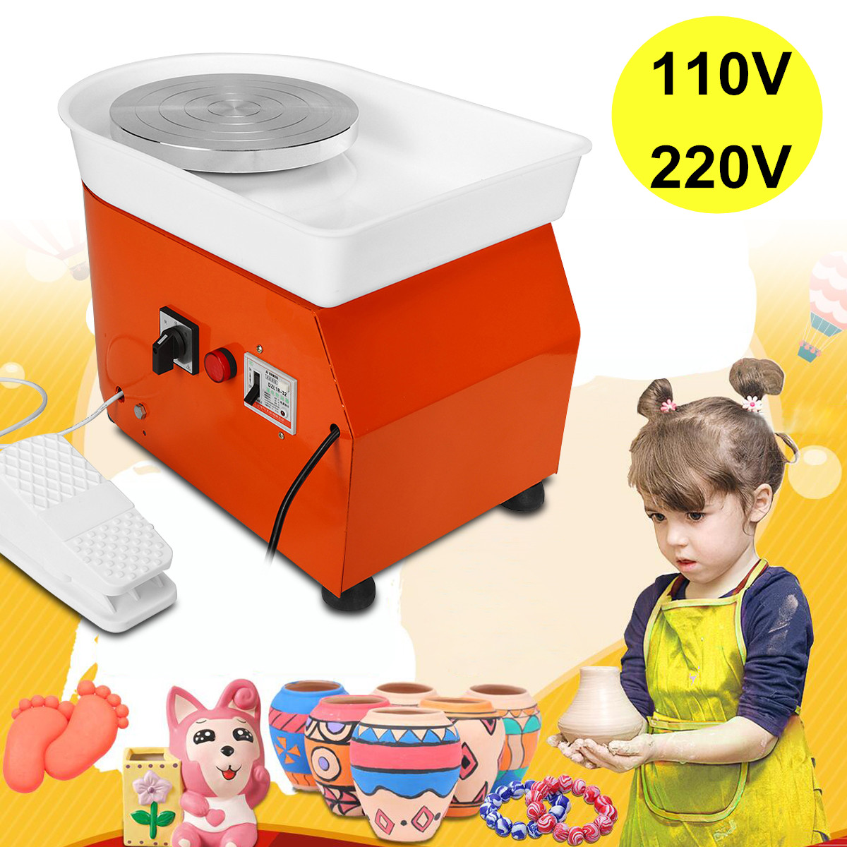 EU/AU AC220V 250W Pottery Wheel Machine 25cm Ceramic Work Ceramics Clay Art With Mobile Flexible Foot Pedal Smooth Low Noise