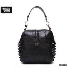 XIYUAN BRAND women new fashion Sheepskin vintage Handbags female Genuine Leather Solid rivet shoulder bags black lady hand bag