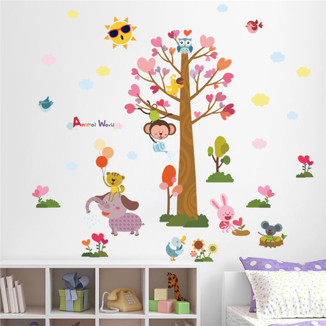 Cartoon Animals World Tree Monkey Owl Bird Wall Stickers For Kids