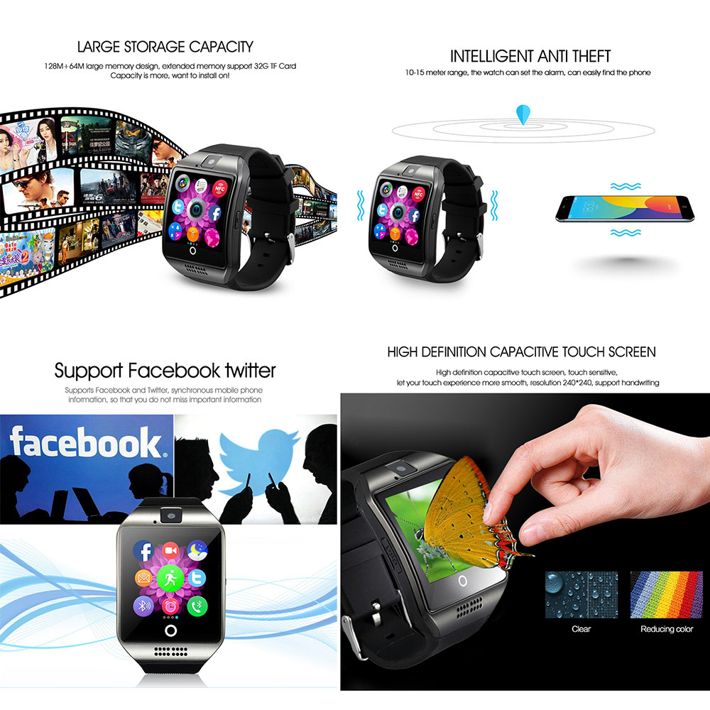 2019 Smart Watch With Camera Q18 Bluetooth Smartwatch SIM TF Card Slot Fitness Activity Tracker Sport Watch For Android Digital in Digital Watches from Watches