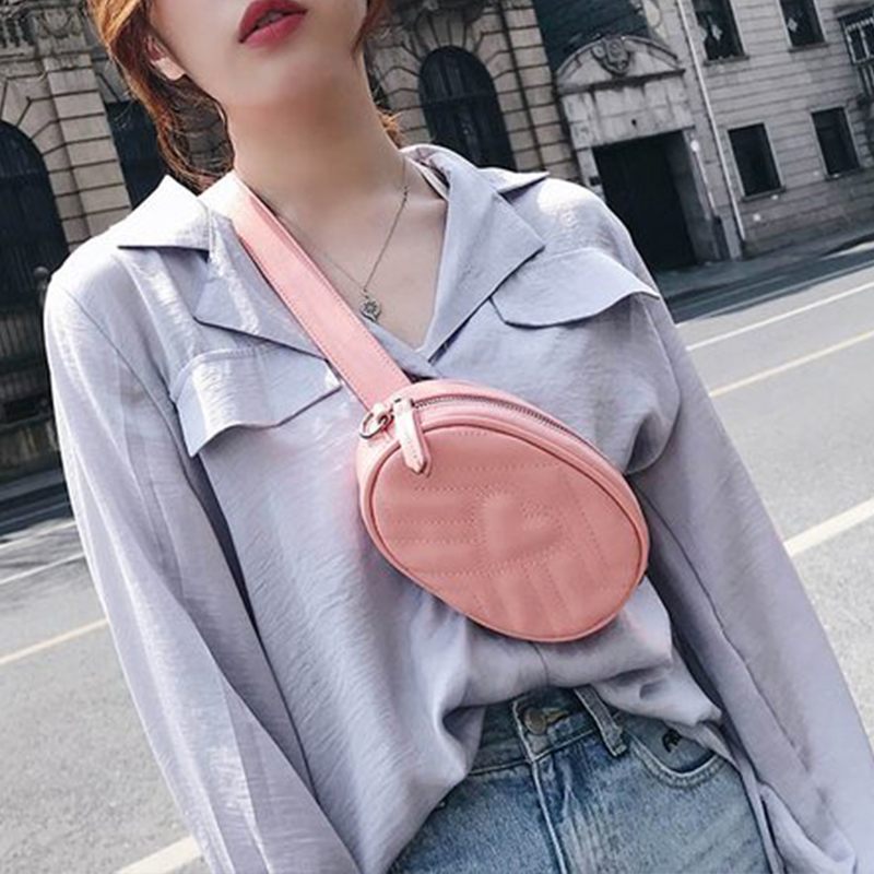 With Two Pcs Of Belt Female Bags Waist Bag Women Love Heart Cross-body Bag PU Leather Shoulder Crossbody Chest HandBag qiaobao 2018 new korean version of the first layer of women s leather packet messenger bag female shoulder diagonal cross bag
