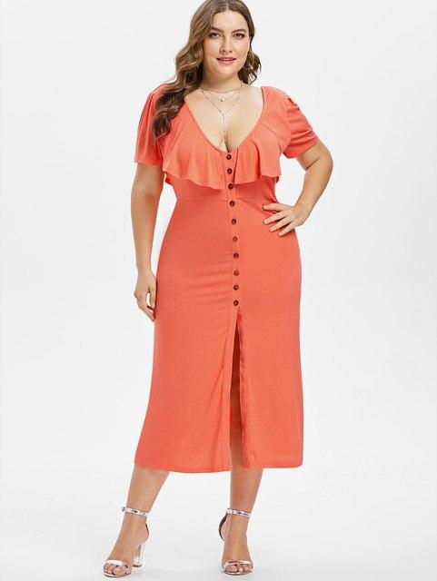 f101643809 Wipalo Plus Size 5XL Elegant Casual Front Slit Low Cut Dress V-Neck Ruffle  Criss Cross Button Dress High Waist Dress Vestidos