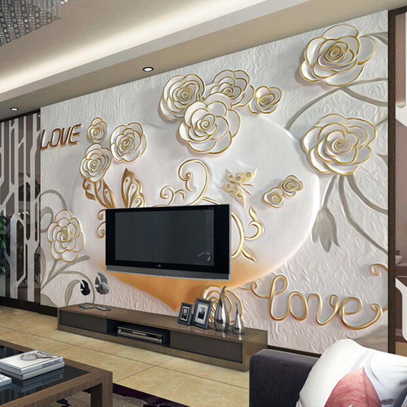 Custom Photo Wallpaper Roll 3D Stereoscopic Embossed Romantic Flowers Living Room Bedroom TV Background Wall Mural Home Decor