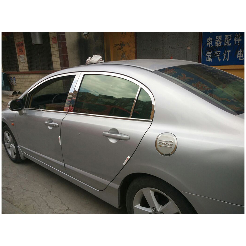 lsrtw2017 304 stainless steel font b car b font window trim for honda civic 2006 2007
