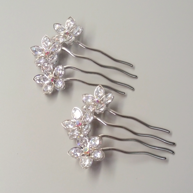 2017 New Women's Hair Accessories,Five leaf flowers Fashion Hair Combs High Quality,Shiny silver headdress A185 стайлер vitek vt 2537