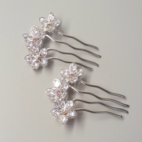 2017 New Women S Hair Accessories Five Leaf Flowers Fashion Hair Combs High Quality Shiny Silver