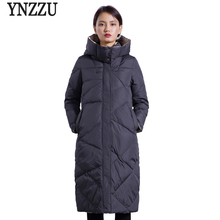 YNZZU Brand 2018 Winter Down Jackets Women Korean Elegant Red Long Loose Duck Coats Female Jacket with Hooded Overcoat O599