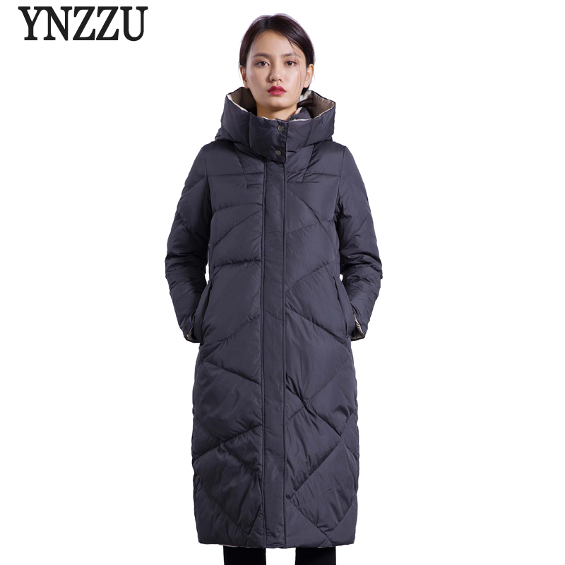 YNZZU Brand 2018 Winter   Down   Jackets Women Korean Elegant Red Long Loose Duck   Down     Coats   Female Jacket with Hooded Overcoat O599