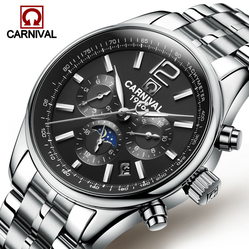 Sport Men Watch Automatic Mechanical Waterproof Wristwatch Relogio Masculino Sapphire Full Steel  Moon Phase CARNIVAL Luminous