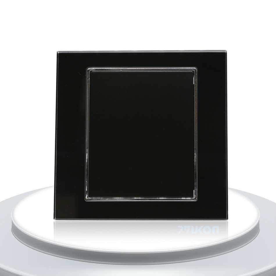 Decorative Switch Single Glass Panel For Wall Switches Socket  Luxury Black Crystal Glass UK Standard 3gang 2way uk standard crystal glass panel touch screen switch wall light switches crystal panel smart home switches