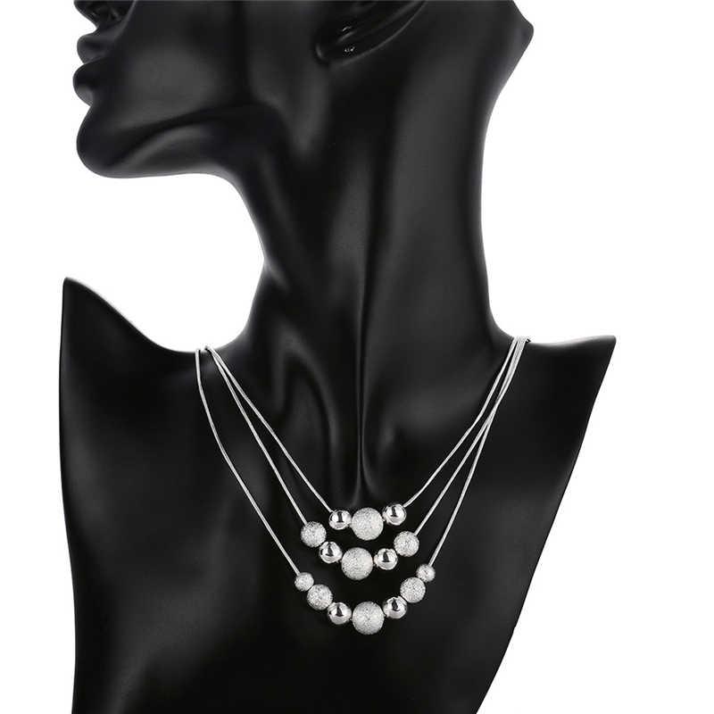 Nowy urok 925 srebrny kolor klasyczny wysokiej jakości moda trzy łańcuch światła piasek koraliki Chokers naszyjnik dla kobiet mężczyzn
