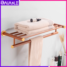 Bathroom Towel Rack Hanging Holder Wall Mounted Wood Aluminum Towel Holder Single Towel Bar Toilet Washroom Shower Storage Shelf