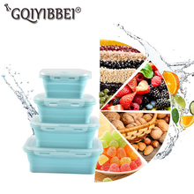 3PCS Set Foldable Silicone Food Lunch Box Fruit Salad Storage Container Dinnerware Conveniently Organizer