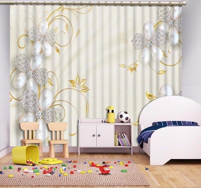 Moderne Luxus 3D Vorhänge Für Wohnzimmer Schöne Schmuck Blume Vorhang Für  Raumdekoration Blackout 3D Sheer Fenster