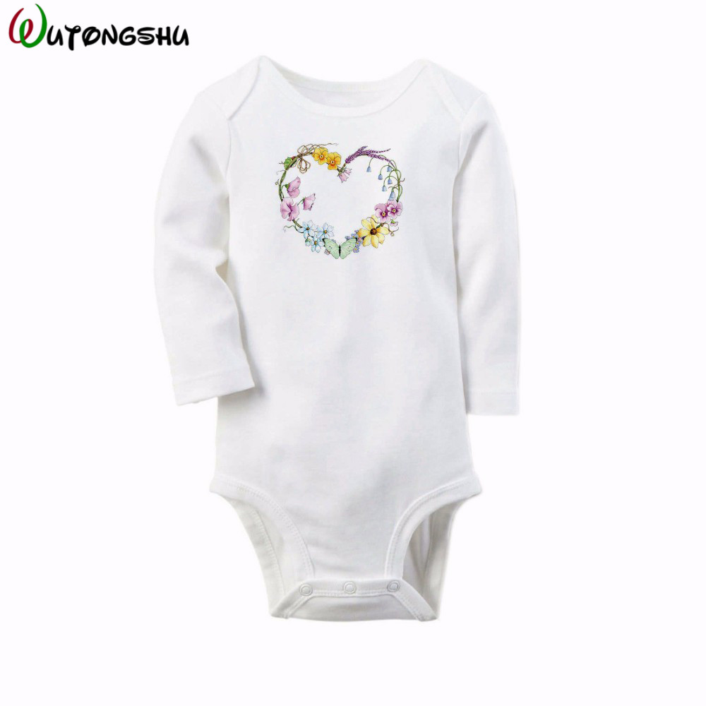 Cute Floral Baby Rompers Long Sleeve Cotton O-Neck 0-12M New Born Girls Body Suit Newborn Baby Jumpsuit Clothes For Shower Gift newborn baby girls rompers 100% cotton long sleeve angel wings leisure body suit clothing toddler jumpsuit infant boys clothes