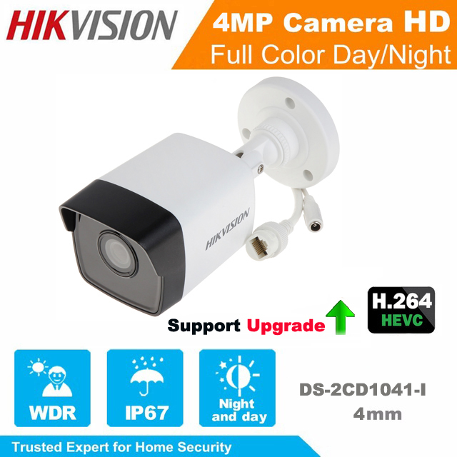 Hikvision English Version IP Camera DS-2CD1041-I 4MP Bullet Security Network IP Camera IR POE cctv camera Support Upgrade hikvision ip camera 4mp bullet security camera with poe network camera ds 2cd2042wd i video surveillance 4pcs lot dhl shipping
