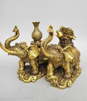 China seiko carving Pure brass elephant wealth A pair statue