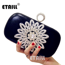 ETAILL NEW Diamonds Women Evening Bags Black PU Rings Rhinestones Clutch Purse Chain Shoulder Bag Flower Design Lady Banquet Bag