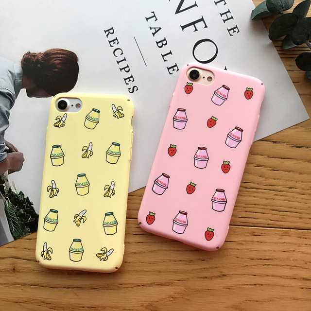 SZYHOME Phone Cases for IPhone 6 6s 7 Plus Case Japanese Korea Lovely Milk Cartoon Frosted for IPhone 7 Plus Phone Cover Case E