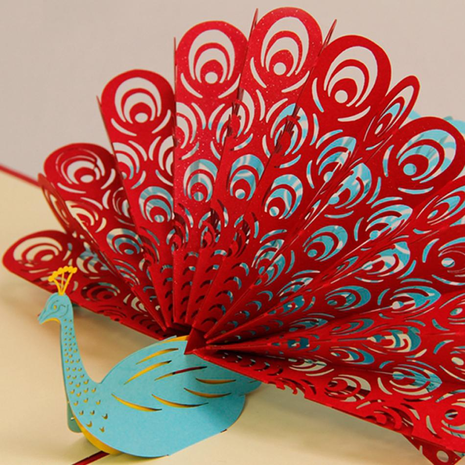 Amazing Cool 3d Pop Up Cards Custom Greeting Cards 3d Peacock In Red
