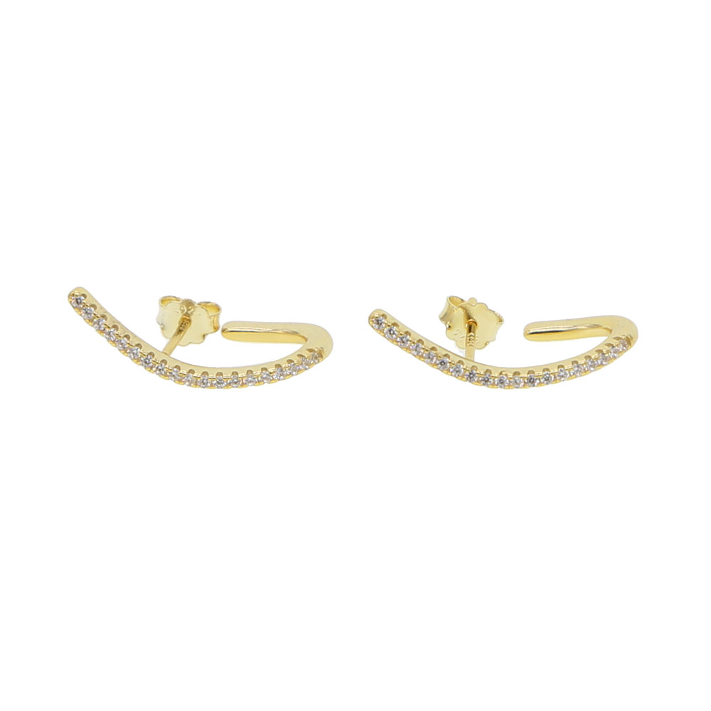 Minimalist 925 Sterling Silver Tin Bar J Stud Earrings