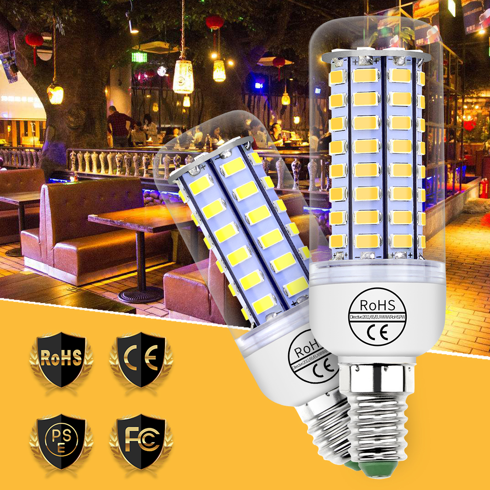 Led Bulb E27 SMD 5730 220V Led Lamp E14 230V Corn Light 240V Energy Saving Indoor Kitchen 24 36 48 56 69 72leds 360 Beam Angle