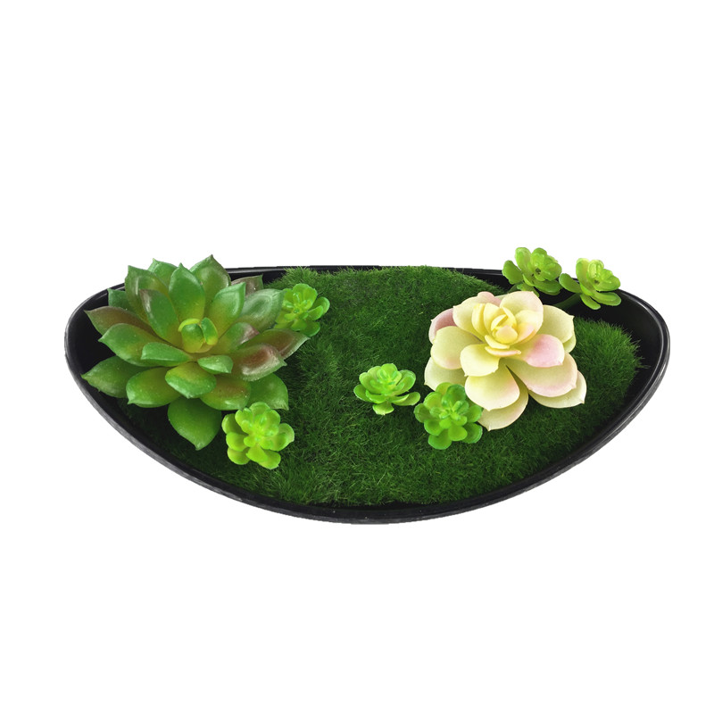 Artificial Succulent Art With Vase Plant Plastic Flower Bonsai Green Plant Table Decoration Branches Free Shipping