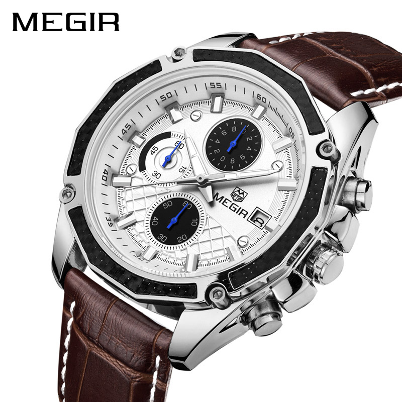 2018 <font><b>MEGIR</b></font> Men Watches Fashion Genuine Leather Chronograph Watch Official Quartz Clock for Gentle Men Male Students Reloj Hombre image