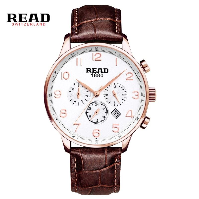 цена на READ Watches Men Luxury Brand Multi-functional sports men's watch fashion belt watch quartz watch R6081