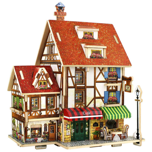 3D Puzzle Wooden Toys Coffee Lodge House Home Puzzles Composite Model DIY  Wood Toys For Children