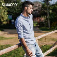 Simwood 2018 New Arrival Brand Clothing Men Shirt Long Sleeved Striped Casual Slim Fit Shirts Plus