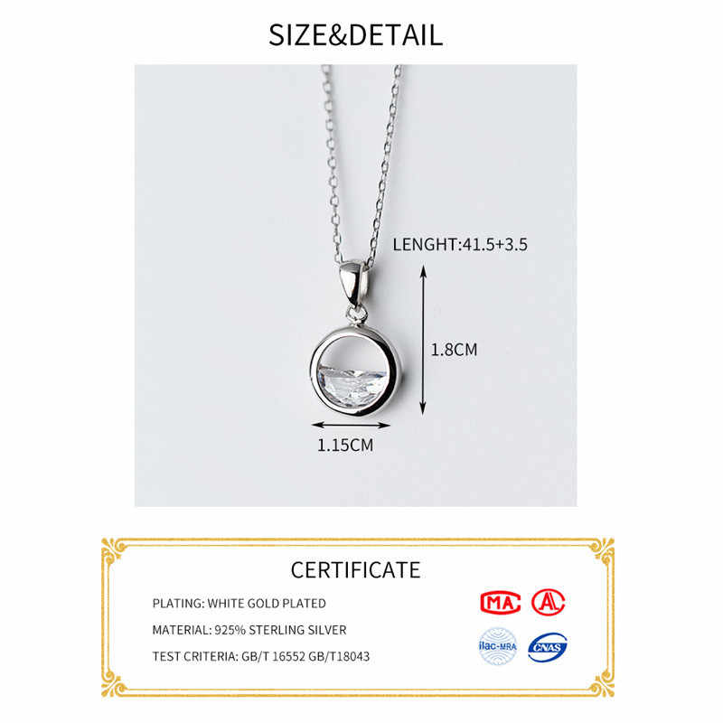 INZATT แท้ 925 เงินคริสตัลรอบ Minimalist จี้สร้อยคอ Minimalist เครื่องประดับ Fine สำหรับอุปกรณ์เสริมสำหรับผู้หญิง