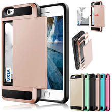 цена на Hybrid Armor Case for iPhone X XR Wallet Case Card Holder Shockproof Rubber Bumper Cover for iPhone 5 5S SE 6 6S 7 8 Plus Cover
