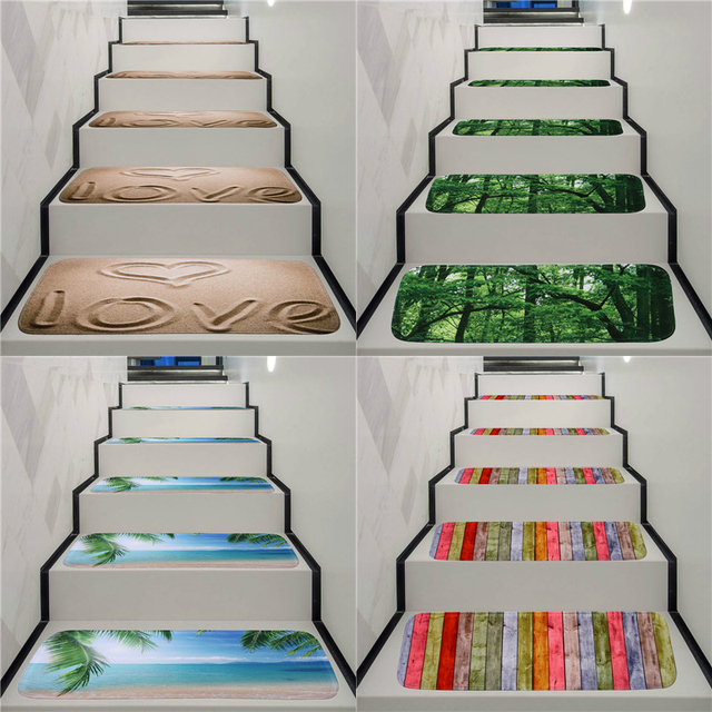 Washable Non Slip Stair Treads Stair Carpet Tread Stair Rugs Dirt Proof  Rubber Backing
