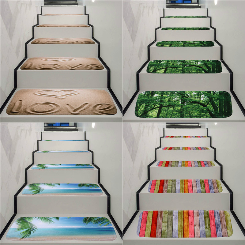 Washable Non-slip Stair Treads Stair Carpet Tread Stair Rugs Dirt-proof Rubber Backing Stair Carpets for Home Office