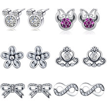 df5705b94 2019 New Mickey Minnie Mouse Silver Pandora Stud Earring For Women Girl  Sparkling CZ Stone Flower Bow Earring Fashion Jewelry