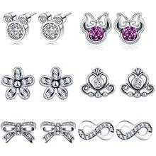 Cartoon Mickey Minnie Stud Earrings For Women Girl Sparkling Zircon Crown Brand Fine Jewelry Dropshipping