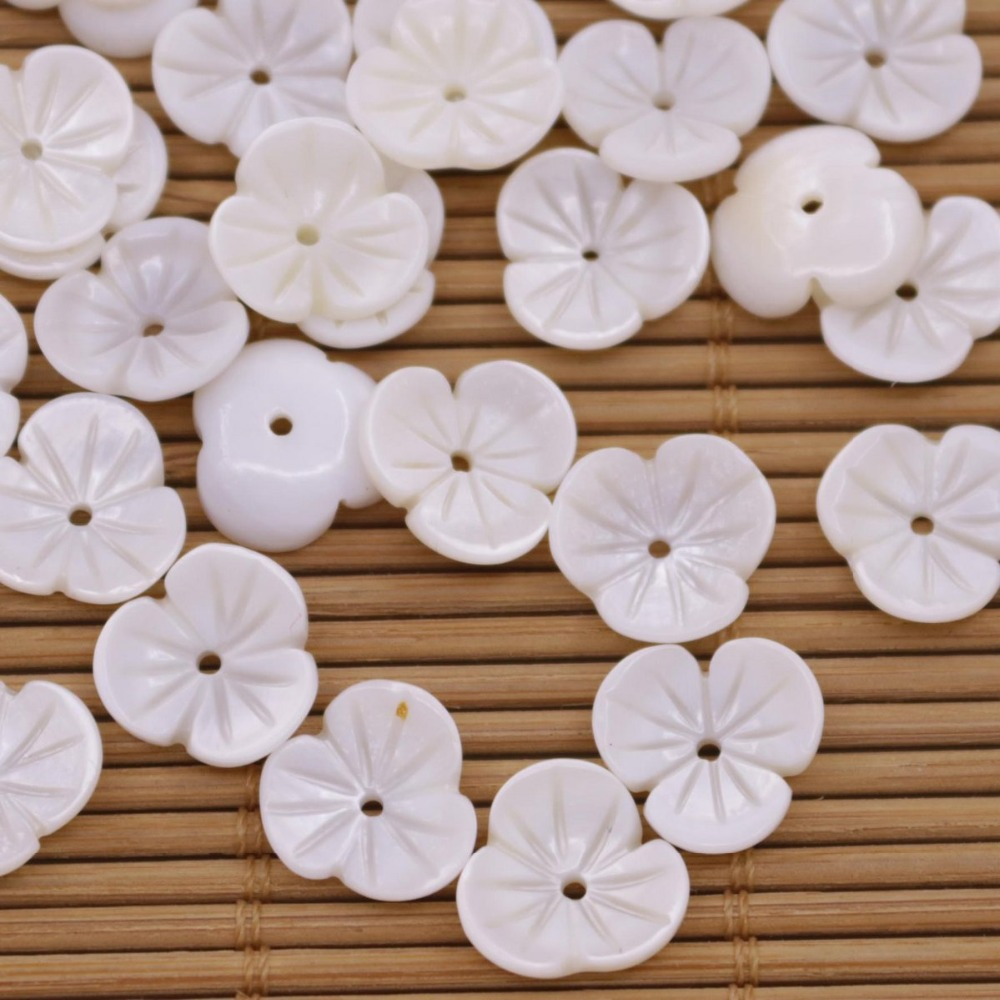 Купить с кэшбэком 50 PCS 12mm Shell Natural White Mother of Pearl charms 3petal