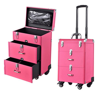 Woman Trolley Cosmetic case Nails Makeup Toolbox,Multi layer Trolley Case ,PVC Beauty Box Travel Rolling Luggage Suitcase wheel
