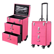 Woman Trolley Cosmetic case Nails Makeup Toolbox,Multi-layer Trolley Case ,PVC Beauty Box Travel Rolling Luggage Suitcase wheel(China)