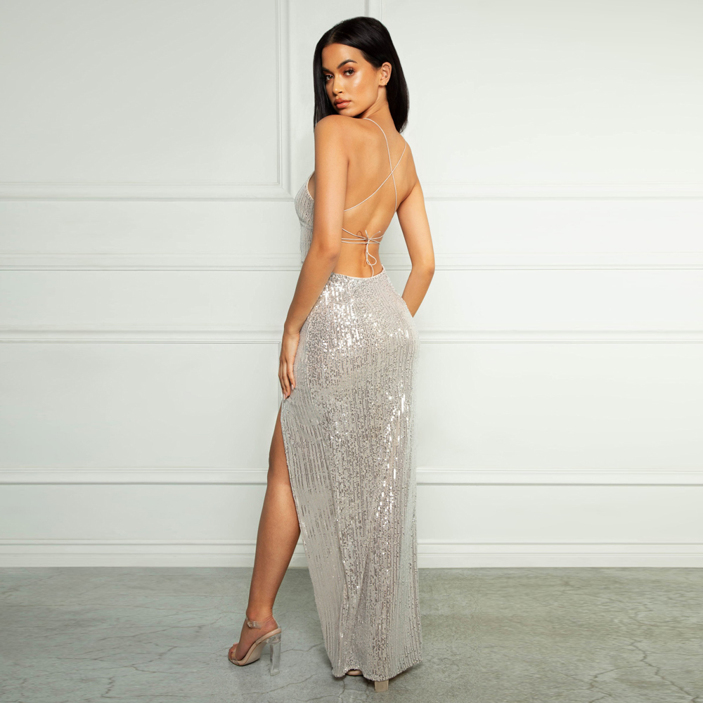 V Neck Lace Up Sequined Cocktail Party Dress Backless Split Leg Backless Sleeveless Mid Calf Ankle Length Dress