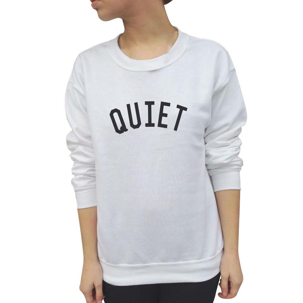 harajuku sweatshirt QUIET print women hoody black white pullovers casual female tracksuit sudaderas mujer 2017
