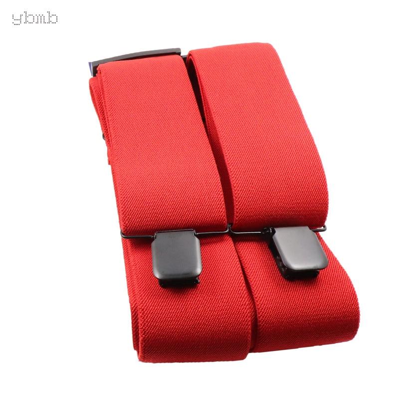 YBMB Fashion Shirt Suspenders X-Shape 50mm Width Casual Wedding Striped Belt Elastic 4Clip-on Adjustable Work Pants Braces