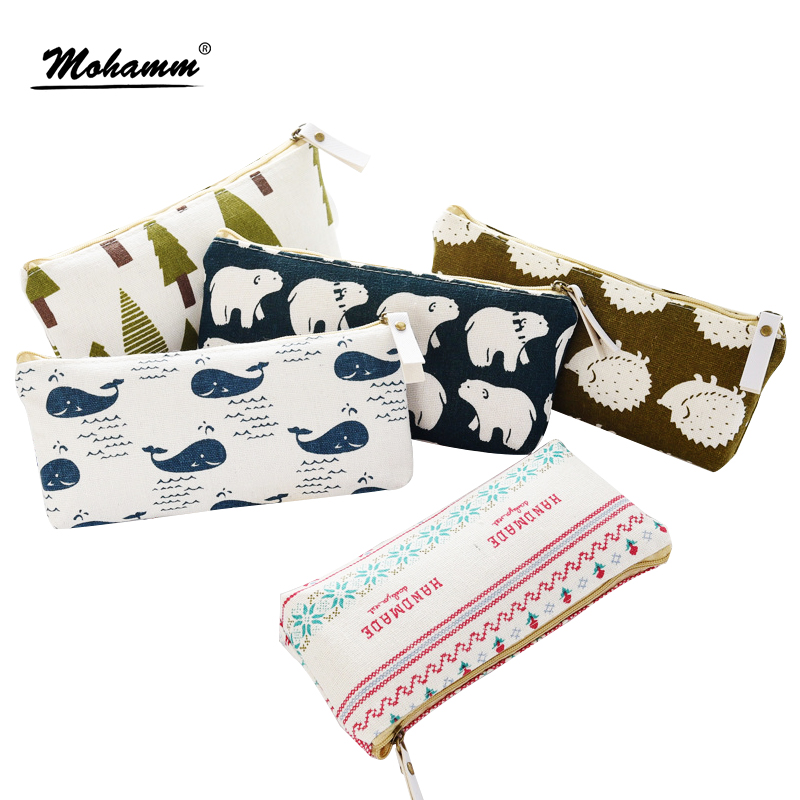 Cute Korean Animals Canvas Pencil Case Storage Organizer Pen Bags Pouch Pencil Bag Pencilcase School Supply Kawaii Stationery