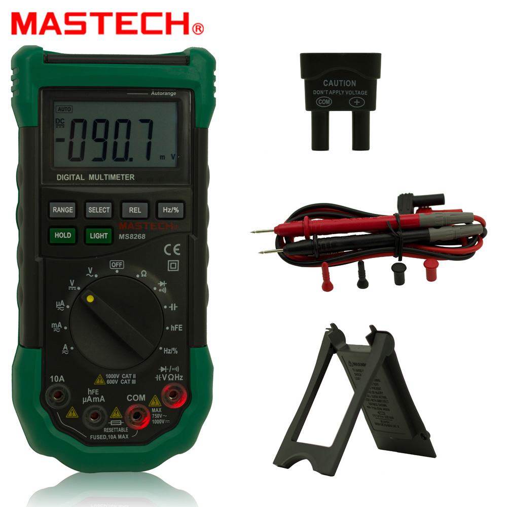 Mastech MS8268 Auto Range Digital Multimeter Full protection ac/dc ammeter voltmeter ohm Frequency electrical tester an8009 auto range lcd digital multimeter full protection ac dc voltmeter ammeter ohm capacitance ncv electrical tester