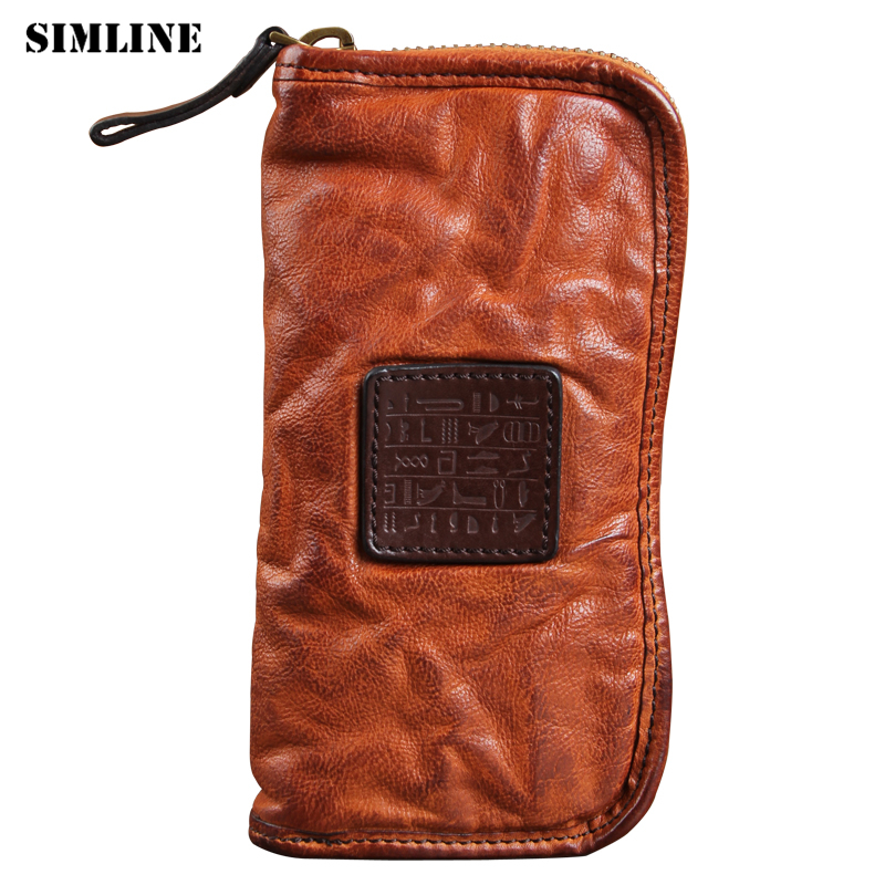 SIMLINE Luxury Genuine Leather Men Wallet Vintage Men's Long Zipper Vegetable Tanned Cowhide Clutch Bag Wallets Card Holder Male