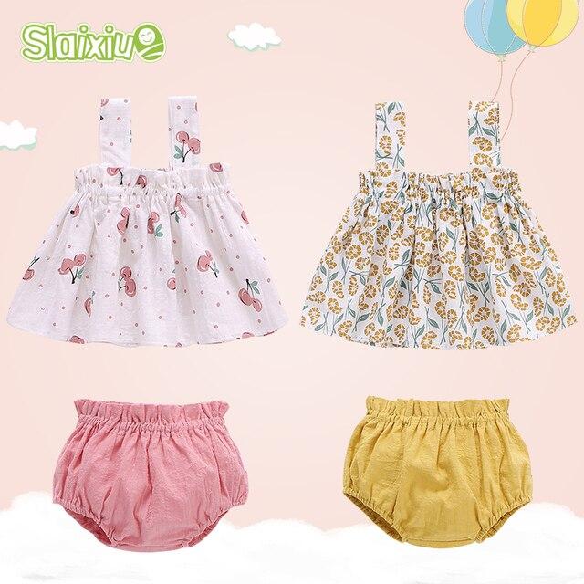 Verano recién nacido bebé niña ropa conjunto borla Ropa para Niñas vestido sin manga algodón lindo 3-24 M