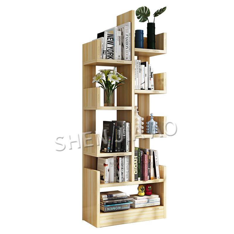 Tree-shaped Bookshelf Floor Simple Modern Solid Wood Bookcase Children's Storage Creative Living Room Storage Cabinet 1PC