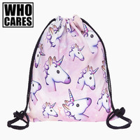 Bllue Unicorn Small Backpack Women 3D Printing Travel Softback Men Mochila Drawstring Bag School Girls Backpacks